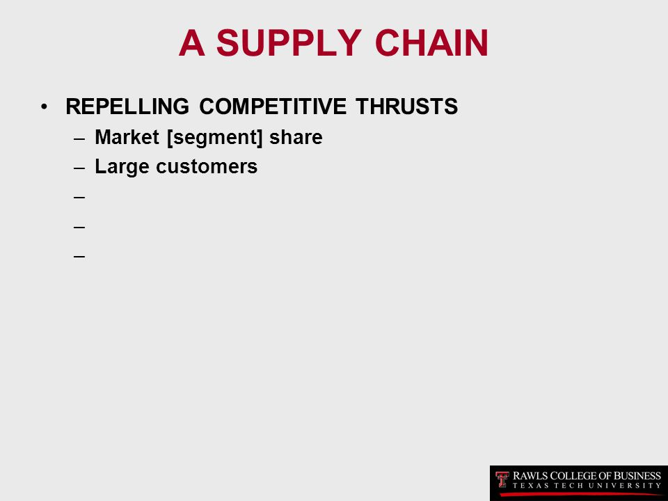 A SUPPLY CHAIN REPELLING COMPETITIVE THRUSTS Market [segment] share